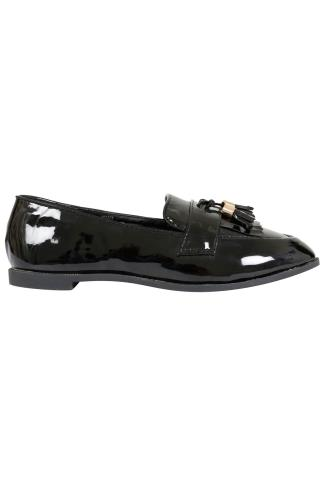 Black COMFORT INSOLE Patent Slip On Loafers With Tassel Detail In E Fit 101372