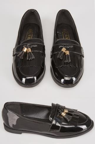 Black COMFORT INSOLE Patent Slip On Loafers With Tassel Detail In E Fit