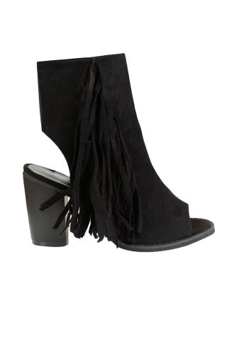 Black COMFORT INSOLE Peep Toe Heeled Tassel Boots In E Fit 101385