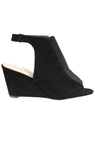 Black COMFORT INSOLE Suedette Backless Wedge Shoes In EEE Fit