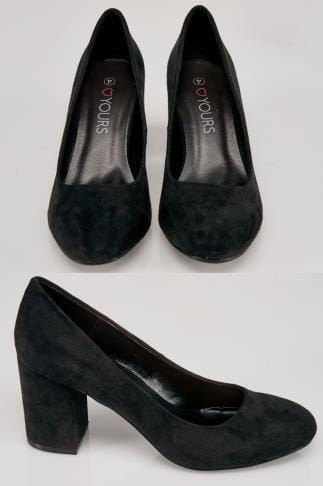 Black COMFORT INSOLE Suedette Block Heel Court Shoe In E Fit