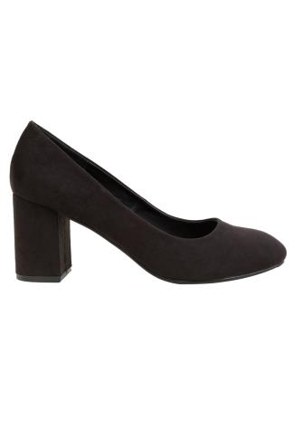 Black COMFORT INSOLE Suedette Block Heel Court Shoe In E Fit 154003
