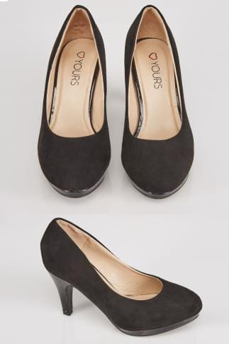 Wide Fit Heels Black COMFORT INSOLE Suedette Court Shoes In EEE Fit 056464