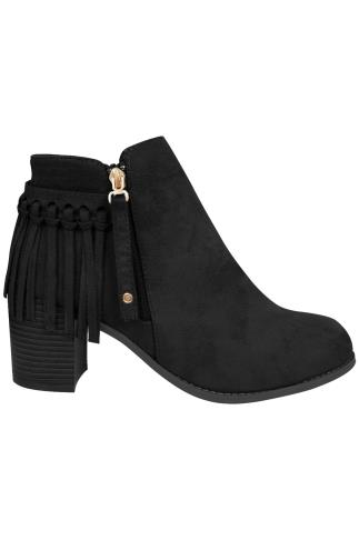 Black COMFORT INSOLE Suedette Heeled Ankle Boots With Tassel Detail In E Fit