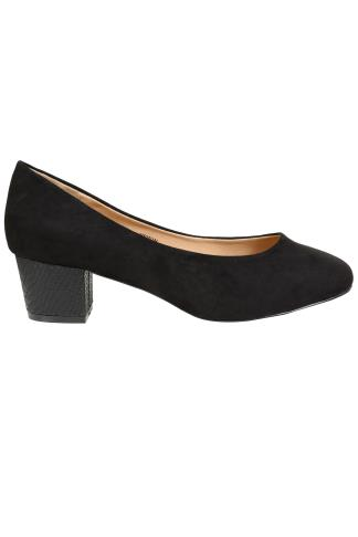 Black COMFORT INSOLE Suedette Heeled Court Shoe In EEE Fit 102184