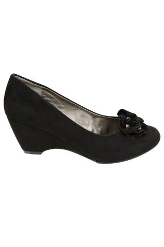Black COMFORT INSOLE Suedette Wedge Shoe With Flower Trim In EEE Fit