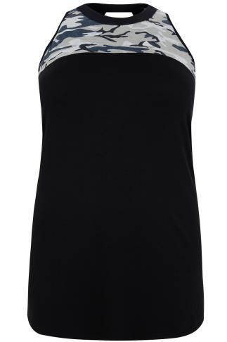 Black Camo Jersey Sleeveless Top With Keyhole Back