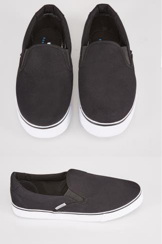 Black Canvas Slip On Plimsolls