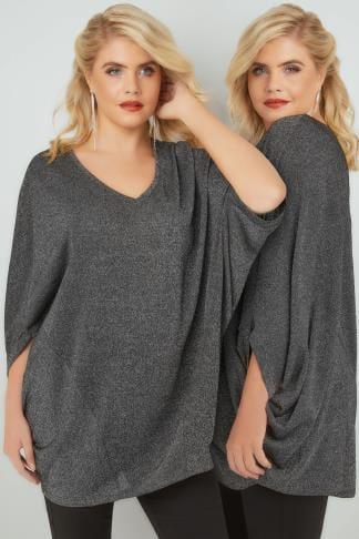 Longline Tops Black & Metallic Fine Knit Longline Top With Slouchy Cape Sleeves 156239