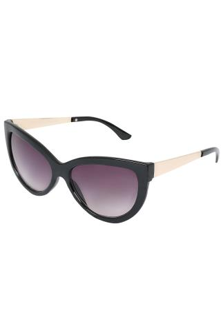 Sunglasses Black Cat Eye Sunglasses With Gold Tone Arms With UV 400 Protection 152201
