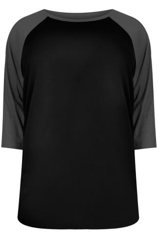 Black & Charcoal 3/4 Sleeve T-Shirt With Contrast Raglan Sleeves