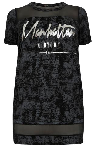 "Black & Charcoal Burnout Print ""Manhattan"" Varsity Top With Mesh Panels"