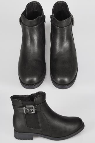 Black Chelsea Ankle Boot With Buckle Detail In TRUE EEE Fit