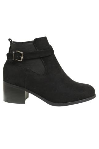 Black Chelsea Boot With Buckle Detail In E Fit 101382