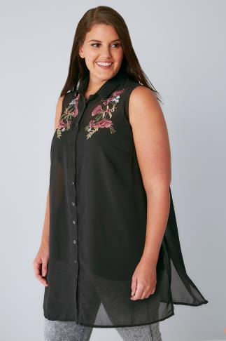 Shirts Black Chiffon Embroidered Longline Sleeveless Shirt With Side Splits 130084