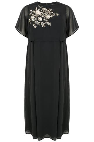 Black Chiffon Maxi Dress With Cape Back & Sequin Floral Embroidery