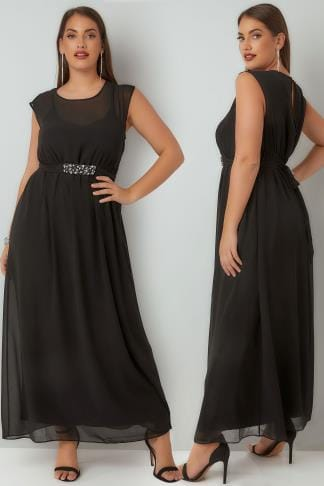 Evening Dresses YOURS LONDON Black Chiffon Maxi Dress With Embellished Tie Waist & Split Back 156269