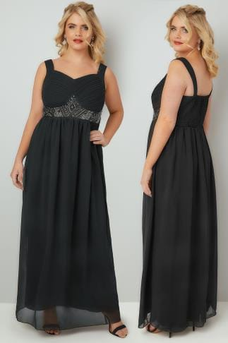 Black Dresses YOURS LONDON Black Chiffon Maxi Dress With Embellished Waist 156080