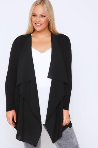 Black Chiffon Trim Waterfall Cardigan