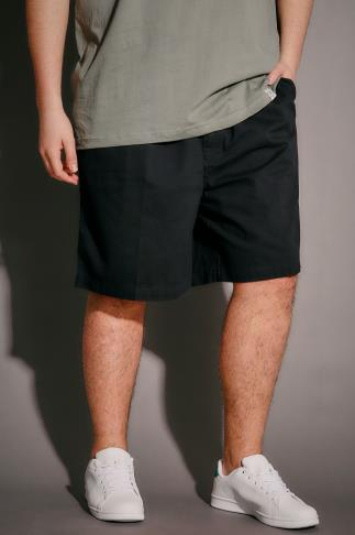Chino Shorts Black Chino Shorts With Elasticated Waist Band 102961