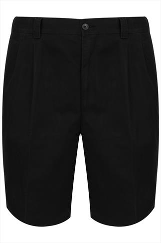 Black Chino Shorts With Elasticated Waist Insert