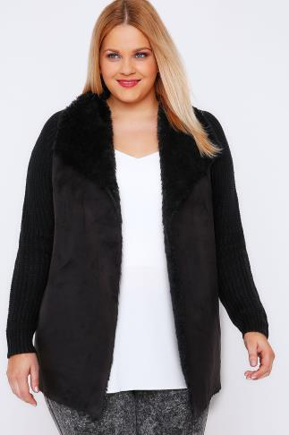 Cardigans Black Chunky Knit Cardigan With Shearling Collar 100412