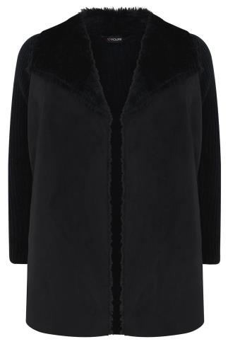 Black Chunky Knit Cardigan With Shearling Collar