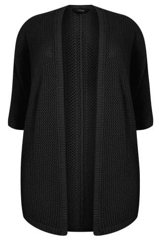 Black Open Knit Cocoon Cardigan With Half Sleeves