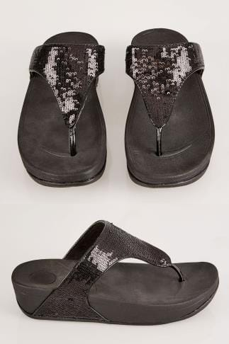 Wide Fit Sandals Black Chunky Toe Post Sandals With Black Sequin Detail In EEE Fit 057075