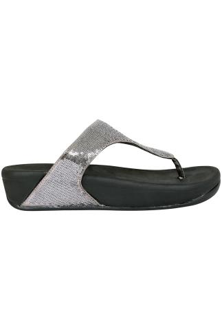 Black Chunky Toe Post Sandals With Silver Sequin Detail In EEE Fit 056753