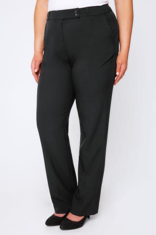 Pantalons droits Black Classic Straight Leg Trousers With Pockets 054130