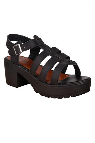 Black Cleated Platform Gladiator Sandals In E Fit
