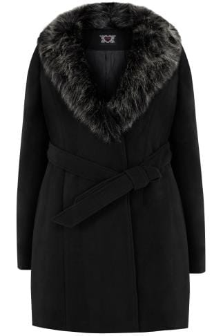 Coats Black Coat With Faux Fur Collar & Tie Waist 120025