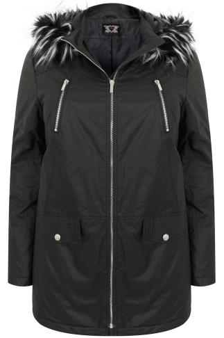 Black Coated Parka With Tipped Faux Fur Trim Hood
