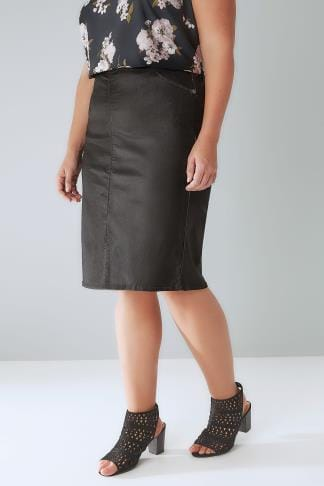 Pencil Skirts Black Coated Pencil Skirt With Elasticated Waist 102050