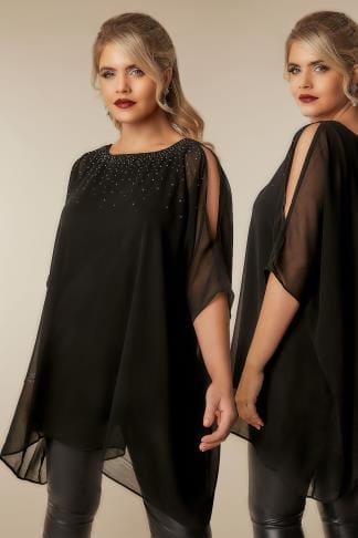 Blouses Black Cold Shoulder Chiffon Cape Blouse With Diamante Embellishment 130197