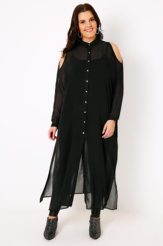 Black Cold Shoulder Chiffon Maxi Shirt With Long Sleeves