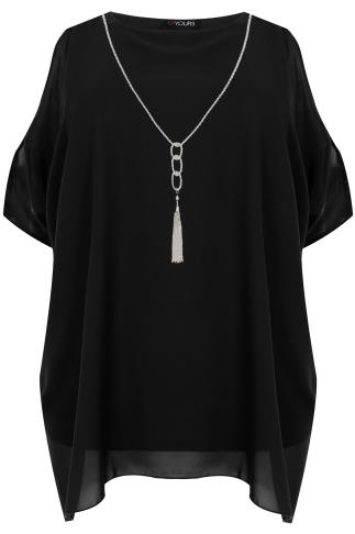 Blouses & Shirts Black Cold Shoulder Chiffon Top With Batwing Sleeves and Free Necklace. 130006