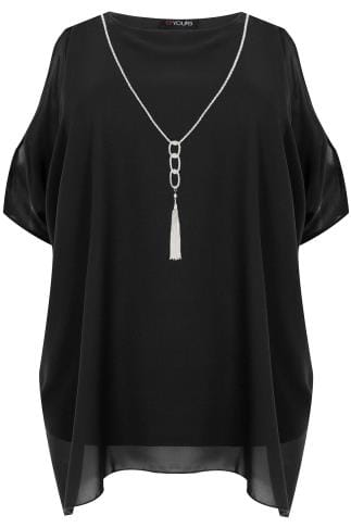 Black Cold Shoulder Chiffon Top With Batwing Sleeves and Free Necklace.