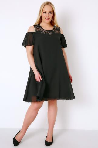 Black Dresses Black Cold Shoulder Dress With Lace Neckline & Angel Sleeves 136001