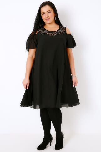 Black Cold Shoulder Dress With Lace Neckline & Angel Sleeves
