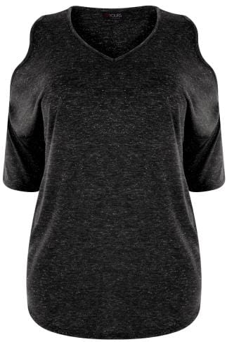 YOURS LONDON Black Cold Shoulder Jersey Top With Silver Metallic Thread Detail