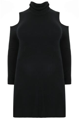 Black Cold Shoulder Knitted Tunic Dress With Roll Neck