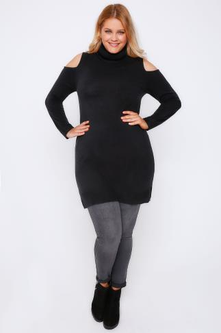 Black Cold Shoulder Knitted Tunic Dress With Roll Neck 101447