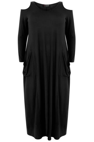 Black Cold Shoulder Maxi Dress With Long Sleeves & Drop Pockets