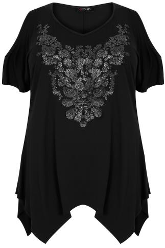 Black Cold Shoulder Top With Hanky Hem & Caviar Beading