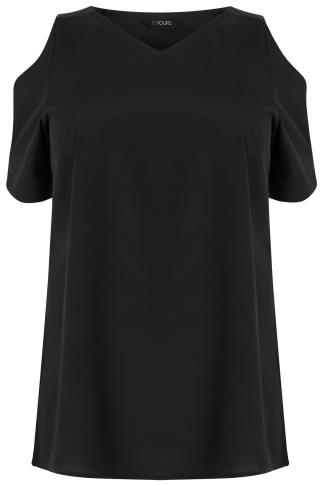 Black Cold Shoulder Woven Top With V-Neck