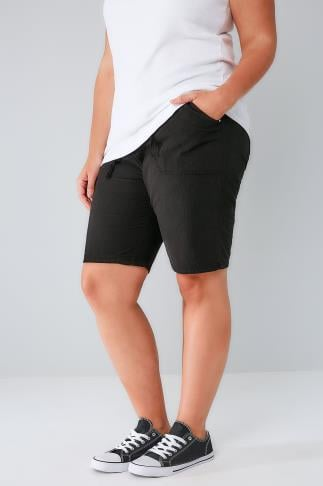 Black Cool Cotton Pull On Shorts With Pockets 144024