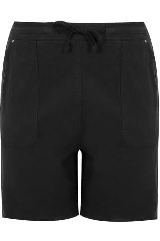 Black Cool Cotton Pull On Shorts With Pockets