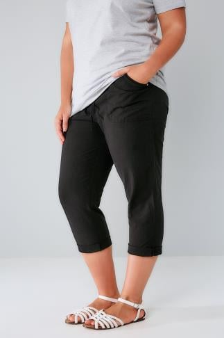 Black Cool Cotton Pull On Tapered Cropped Trousers 144004